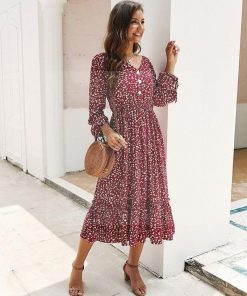 Langärmeliges Kleid im Hippie Chic
